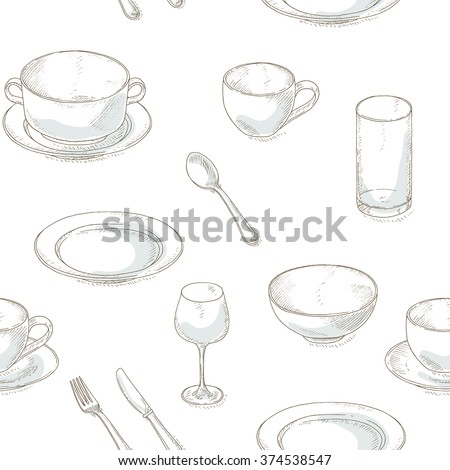 Dishes seamless pattern. Kitchen utensil sketch wallpaper. Dinnerware: plates, bowl, cup, spoon, fork, knife, glass, wineglass. Kitchenware and cutlery hand dawn illustration. - stock vector