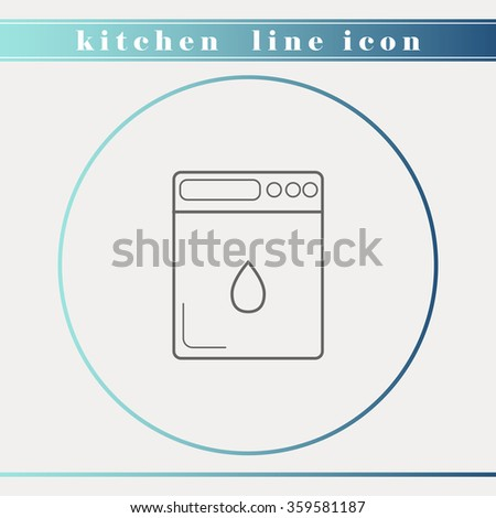 Dishwasher outline thin line icon. Household appliance, kitchen and restaurant accessories, equipment, cooking utensil, cutlery tools, kitchenware and cookware for food preparation. Flat design. - stock vector