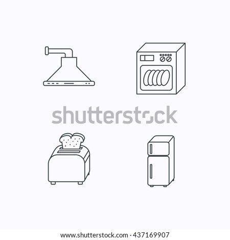 Dishwasher, refrigerator fridge and toaster icons. Kitchen hood linear sign. Flat linear icons on white background. Vector - stock vector