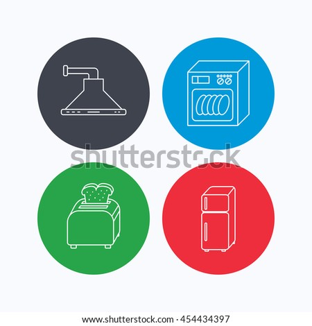 Dishwasher, refrigerator fridge and toaster icons. Kitchen hood linear sign. Linear icons on colored buttons. Flat web symbols. Vector - stock vector