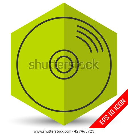 Disk icon. Disk picture. Disk flat vector. CD. DVD. Laser disc icon. - stock vector
