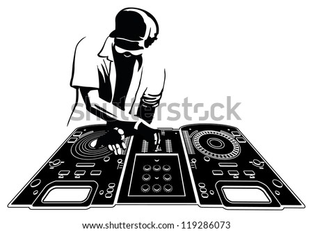 Disk jockey in black silhouette. Console and character are separated and easily selectable - stock vector