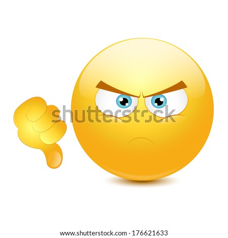 Dislike emoticon on a white background. - stock vector