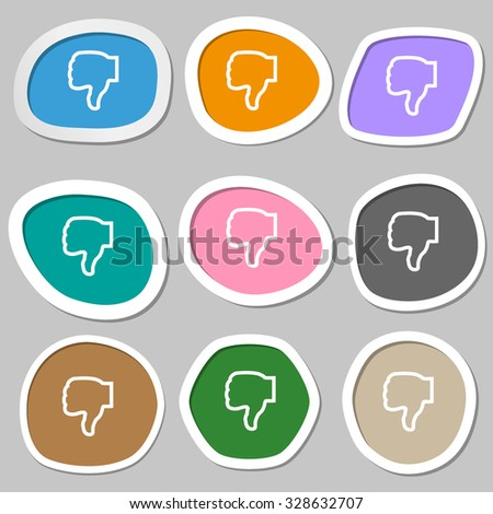 Dislike icon symbols. Multicolored paper stickers. Vector illustration - stock vector