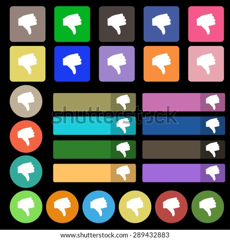 Dislike, Thumb down  icon sign. Set from twenty seven multicolored flat buttons. Vector illustration - stock vector