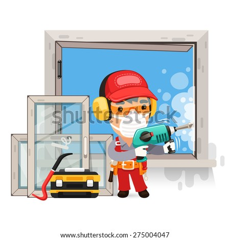 Dismantling the Old Window. Isolated on white background. - stock vector