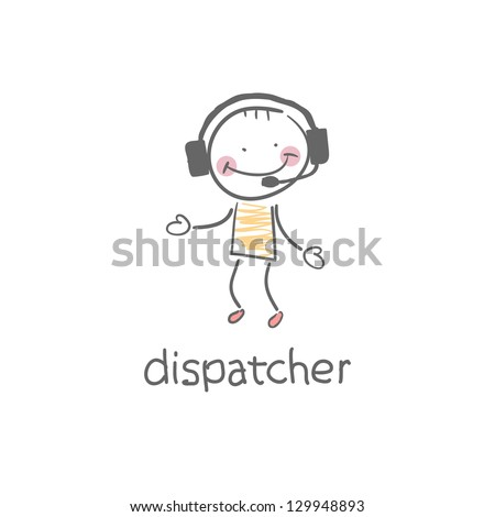 Dispatcher. Illustration. - stock vector