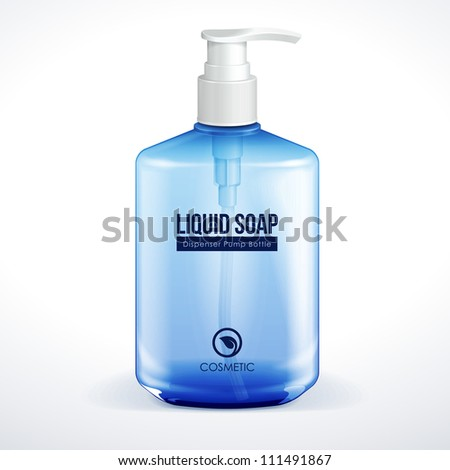Dispenser Pump Cosmetic Or Hygiene Blue Glass Bottle Of Gel, Liquid Soap, Lotion, Cream, Shampoo. Vector EPS10 - stock vector