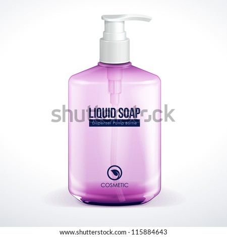 Dispenser Pump Cosmetic Or Hygiene Purple Violet Red Pink Glass Bottle Of Gel, Liquid Soap, Lotion, Cream, Shampoo. Vector EPS10 - stock vector