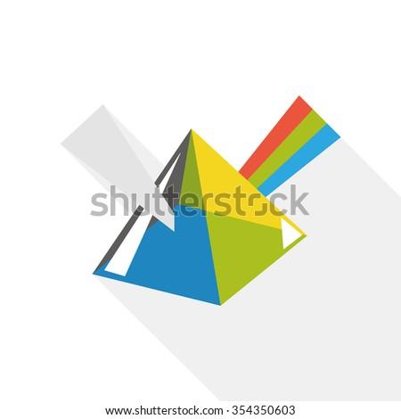 Dispersive prism flat icon - stock vector