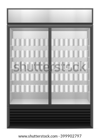 Display fridge with drink cans on a white background. - stock vector