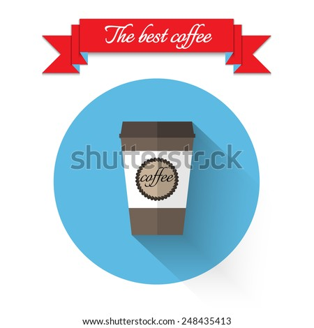 Disposable coffee cup Disposable cup of coffee made in a flat design with long shadow - stock vector