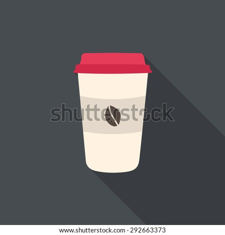 Disposable coffee cup with coffee beans. Flat design with long shadow. - stock vector