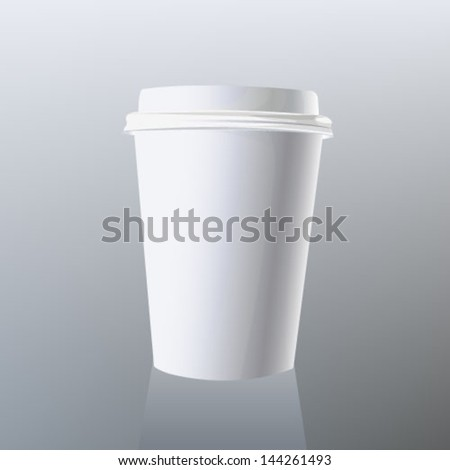 disposable cup of coffee on gray background - stock vector