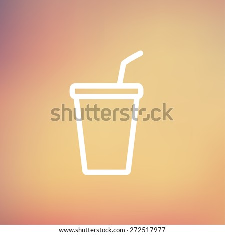 Disposable cup with lid and straw icon thin line for web and mobile, modern minimalistic flat design. Vector white icon on gradient mesh background. - stock vector