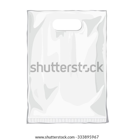 Disposable Plastic Bag. Mock up template of empty plastic container. Vector nylon bag illustration. Blank white plastic bag with place for your design and branding - stock vector