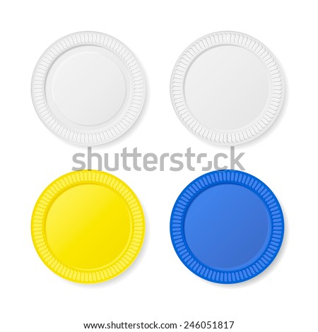 Disposable plates set Isolated on white background, vector illustration - stock vector