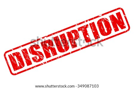DISRUPTION red stamp text on white - stock vector