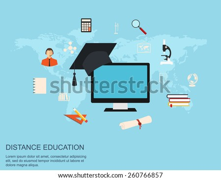distance education and online learning flat design concept illustration - stock vector