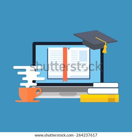 Distance education, online learning concept. Flat design. Isolated on color background - stock vector
