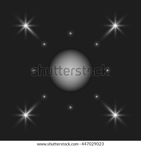 Distant planet and stars.  - stock vector