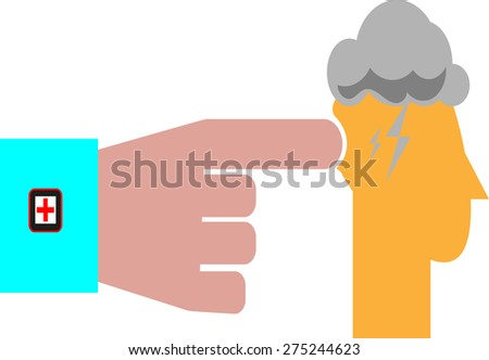 Distraught Man With Head In Hand - stock vector