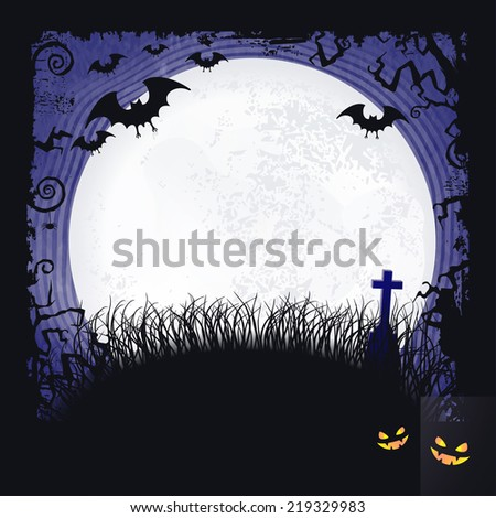 Distressed blue background with dark Halloween themed frame, scary tree  branches, creepy bats, a big full moon and two spooky looking pumpkins make it the  perfect Halloween backdrop. - stock vector