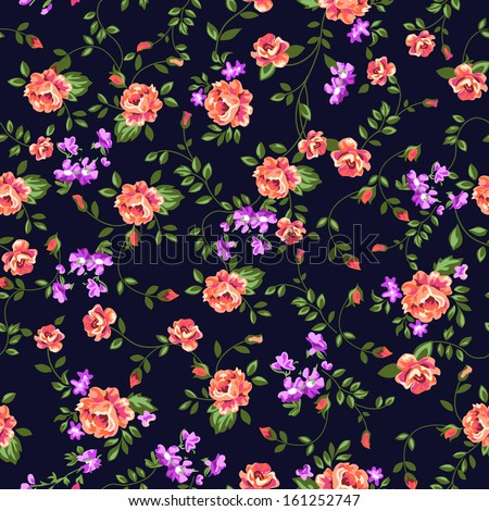 ditsy classic rose print ~ seamless vector background - stock vector