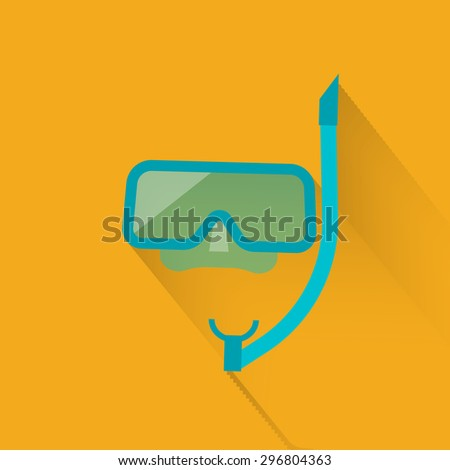 Dive mask and snorkel isolated, vector icon - stock vector