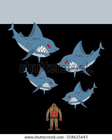 Diver is surrounded by sharks. Underwater abyss and evil sharks want to eat person in old diving suit - stock vector