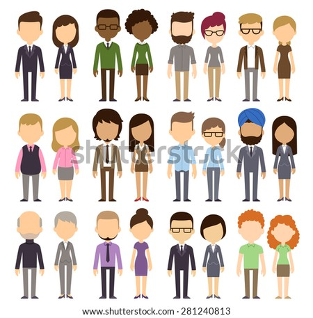 Diverse featureless people isolated on white background. Different nationalities and dress styles. Cute and simple flat cartoon style. - stock vector