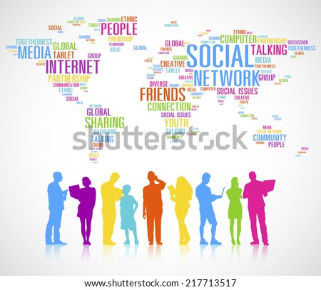 Diverse People's Colorful Silhouettes Global Communication - stock vector