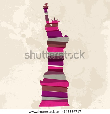 Diversity colors transparent bands Statue of Liberty New York city over grunge background. EPS10 file version. This illustration contains transparency and is layered for easy editing. - stock vector