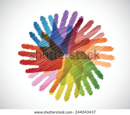 diversity hands scribble illustration design over a white background - stock vector