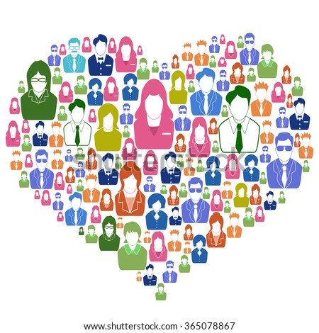 Diversity people in heart - stock vector