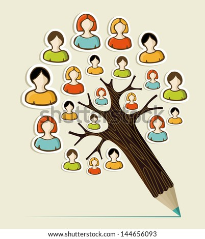 Diversity social media networks sticker people concept pencil tree. Vector illustration layered for easy manipulation and custom coloring. - stock vector
