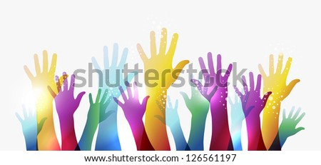 Diversity transparent hands on white background. EPS 10 vector illustration, cleanly built grouped and ordered in layers for easy editing. - stock vector