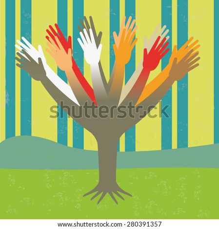 Diversity tree hands Illustration of the concept of a tree of hands of diversity, or the evolution of mankind. The texture is removable from the background. - stock vector