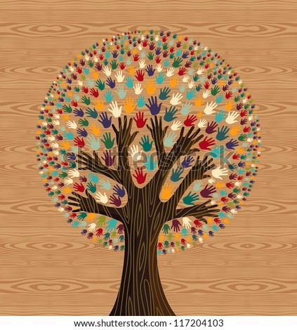 Diversity tree hands illustration over seamless wooden pattern background. Vector file layered for easy manipulation and custom coloring. - stock vector