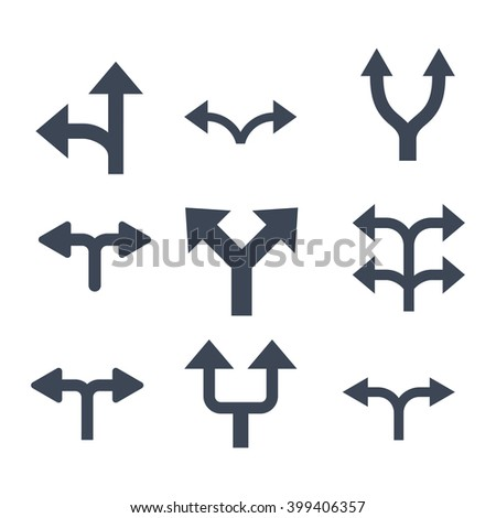 Divide Arrows vector icon set. Collection style is smooth blue flat symbols on a white background. - stock vector