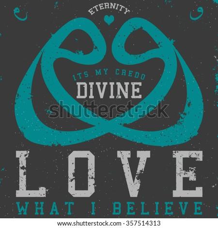 divine love tee graphic - stock vector