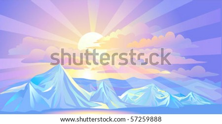 Divine Sunrays and Himalayan snow - stock vector