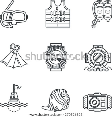 Diving black line vector icons. Set of black contour vector icons for diving equipment and objects on white background. - stock vector