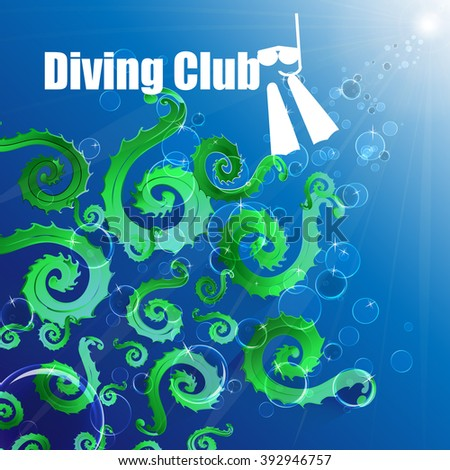 Diving club. Colored algae on a blue background, bubbles, deep expanse of water. - stock vector