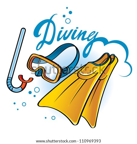 Diving equipment - tube, snorkel, flippers, mask - stock vector