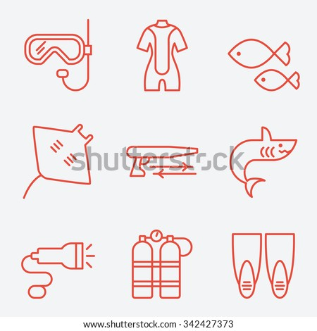 Diving icons, thin line style, flat design - stock vector
