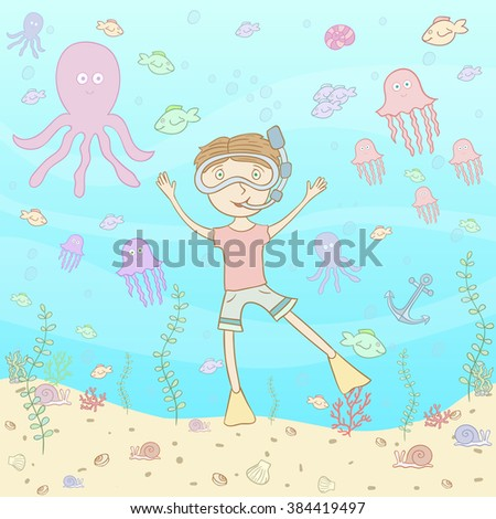Diving Kid seamless - stock vector
