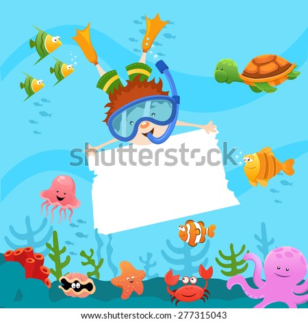 Diving Kid With Blank Paper - stock vector