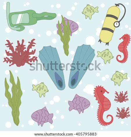 Diving Set. Vector. Pattern scuba, mask, fins, seaweed, coral, seahorse and air bubbles. Undersea world. Stylish set of diving  - stock vector