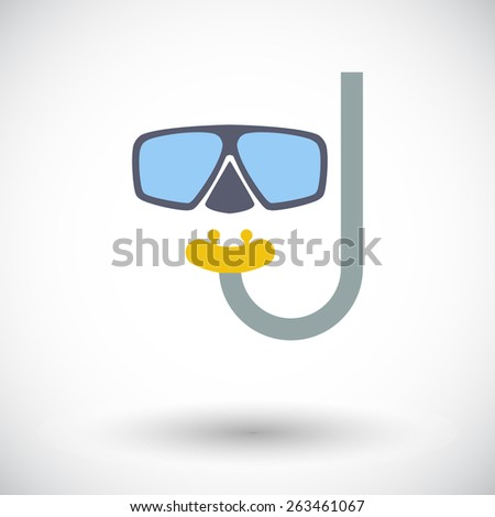 Diving. Single flat icon on white background. Vector illustration. - stock vector